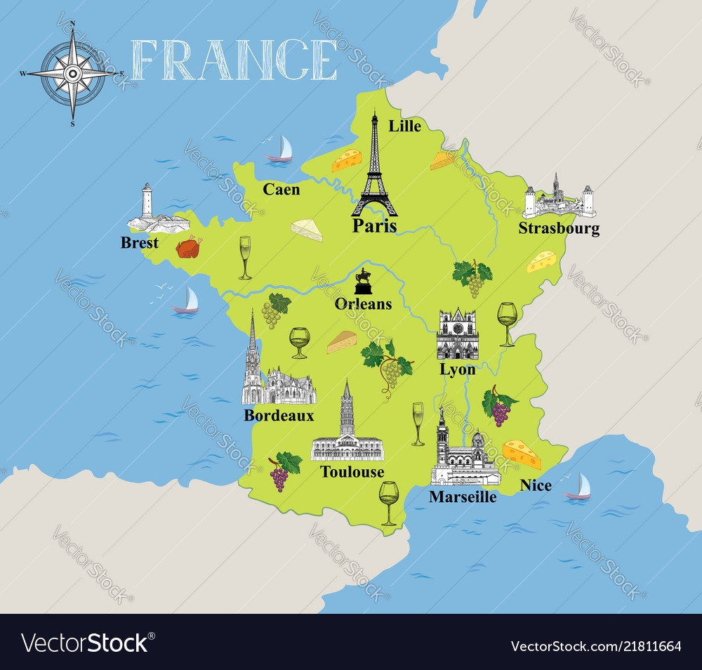 Touristic map of france travel gastronomic