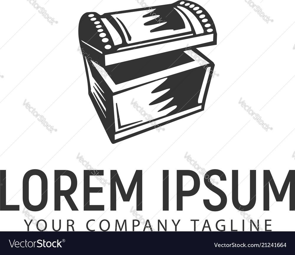 Treasure chest logo design concept template