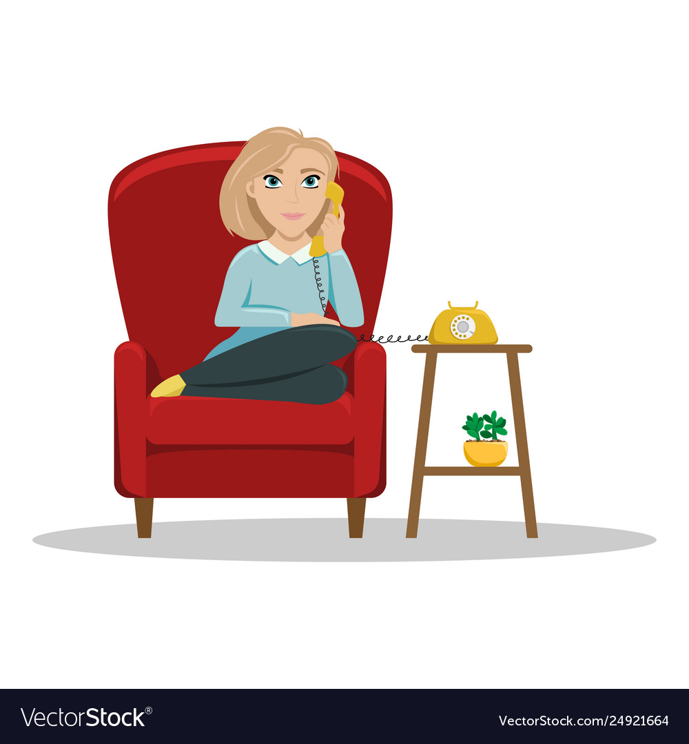 Woman sitting in a chair talking on phone