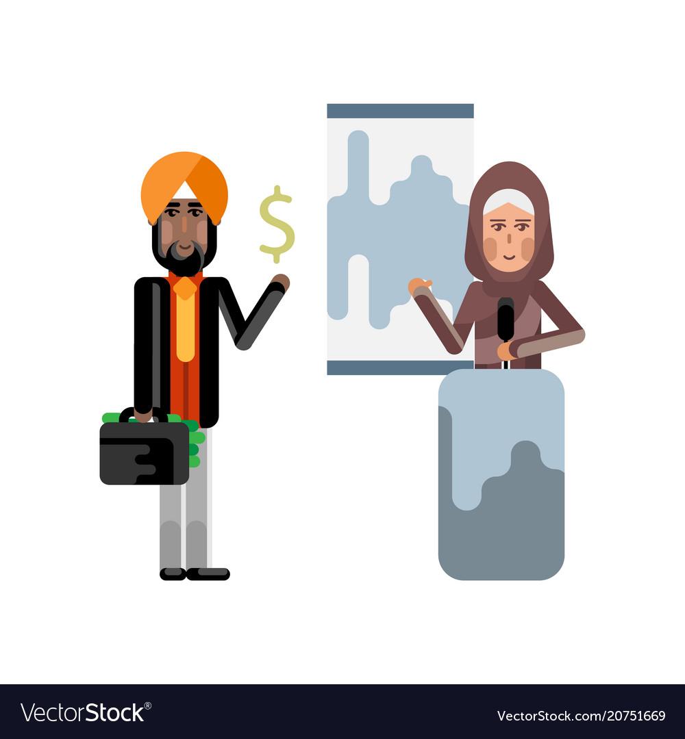Arabic woman doing business presentation