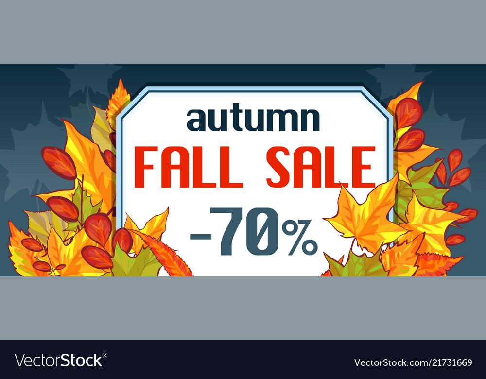 Autumn fall sale banner horizontal cartoon style