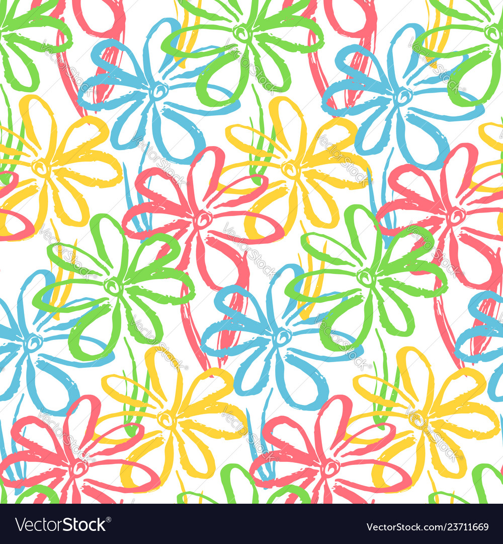 Bright pattern with color chamomile flowers
