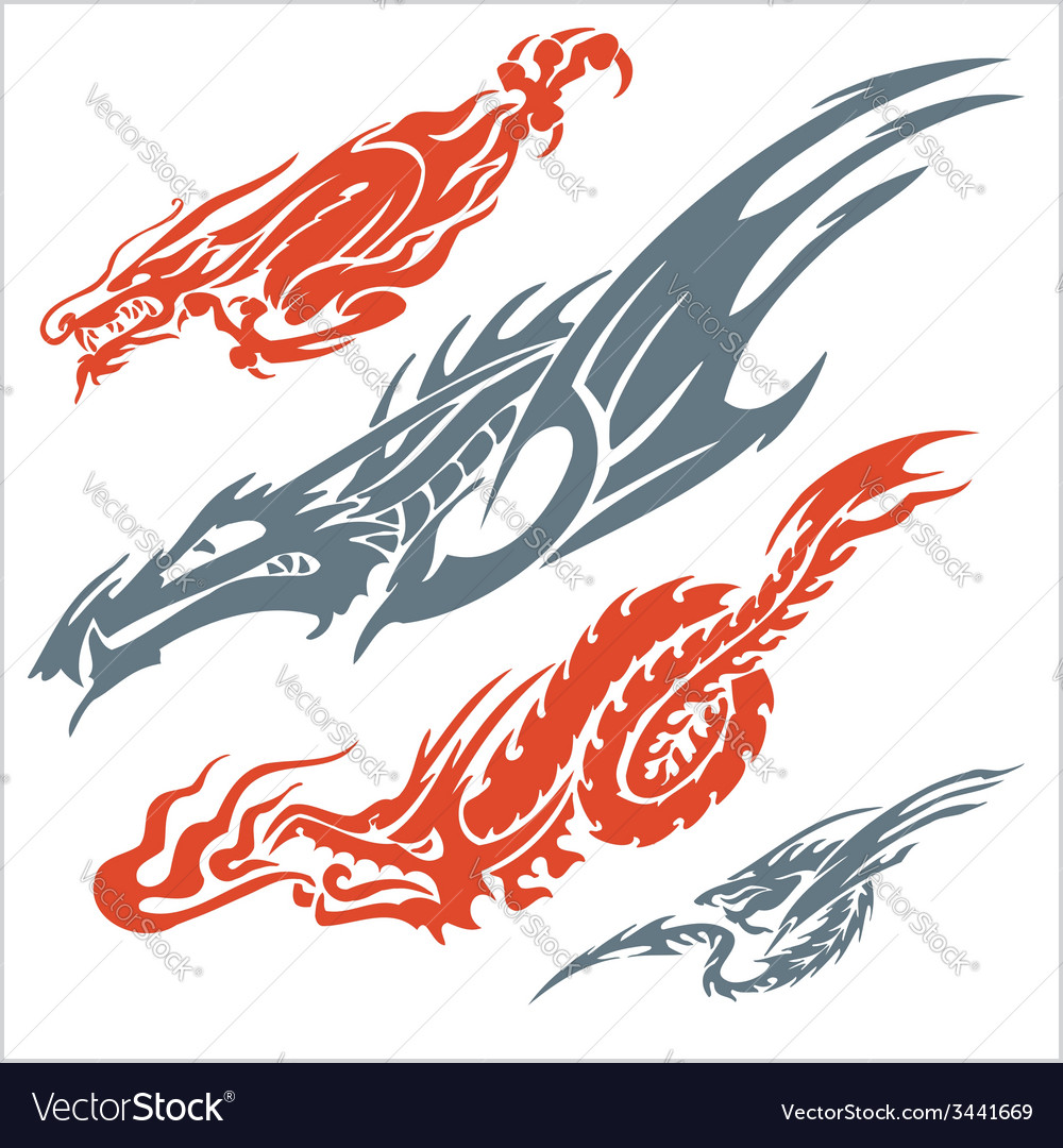 Dragons for tattoo set