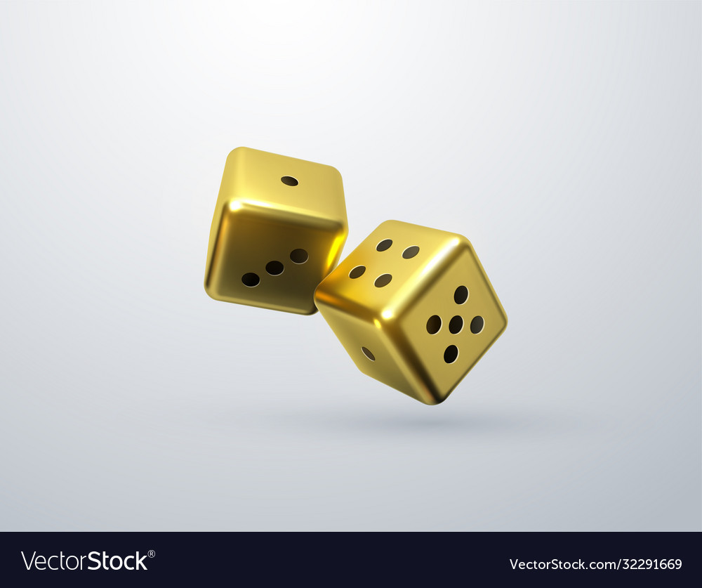 Golden dices isolated on white background