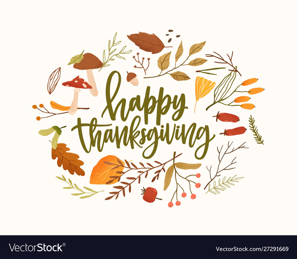 Happy thanksgiving calligraphic lettering