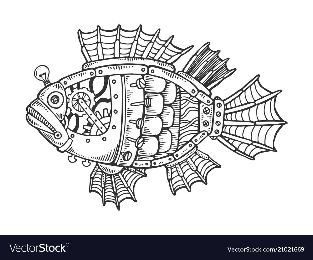 Mechanical fish animal engraving