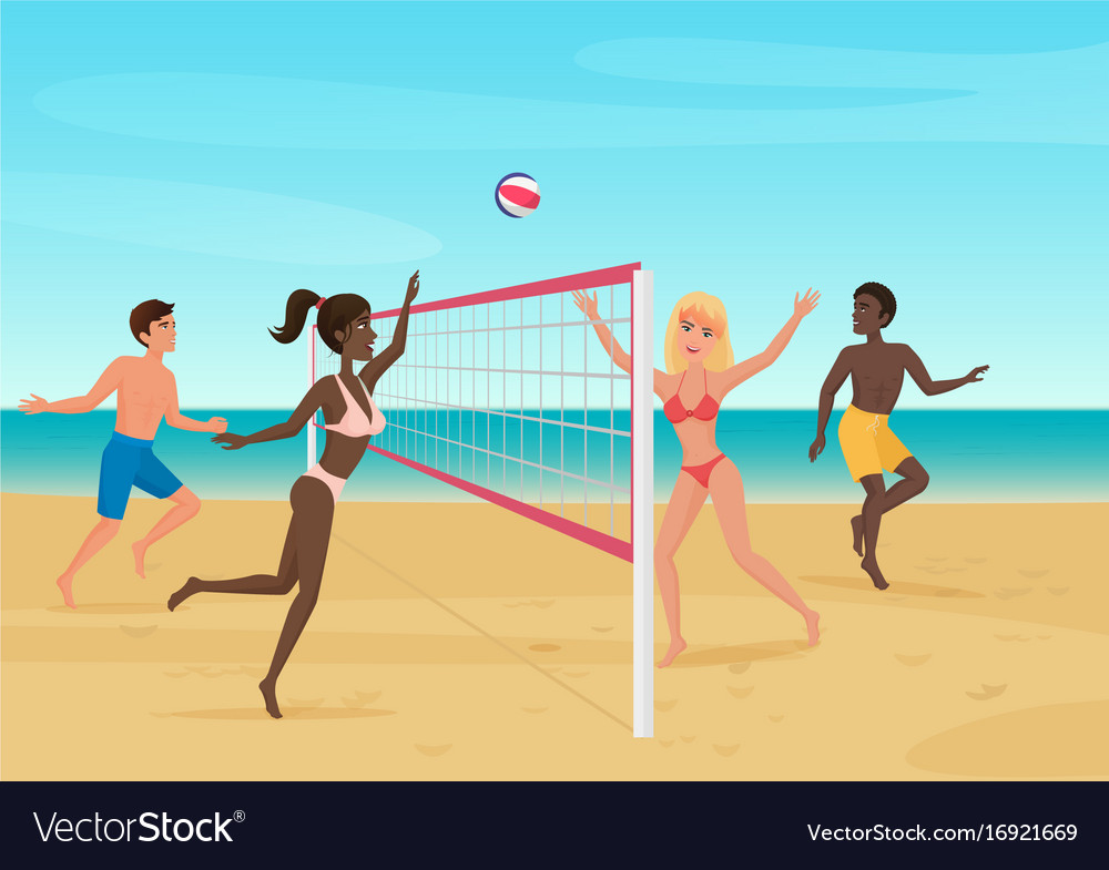 People having fun playing volleyball on the beach