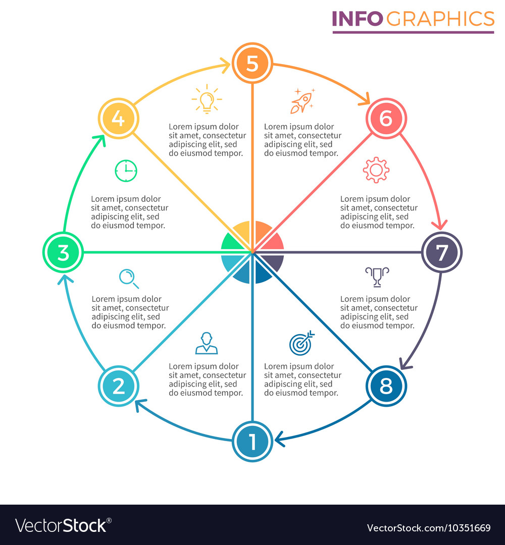 Pie Chart Diagram With 8 Steps Options Royalty Free Vector Image