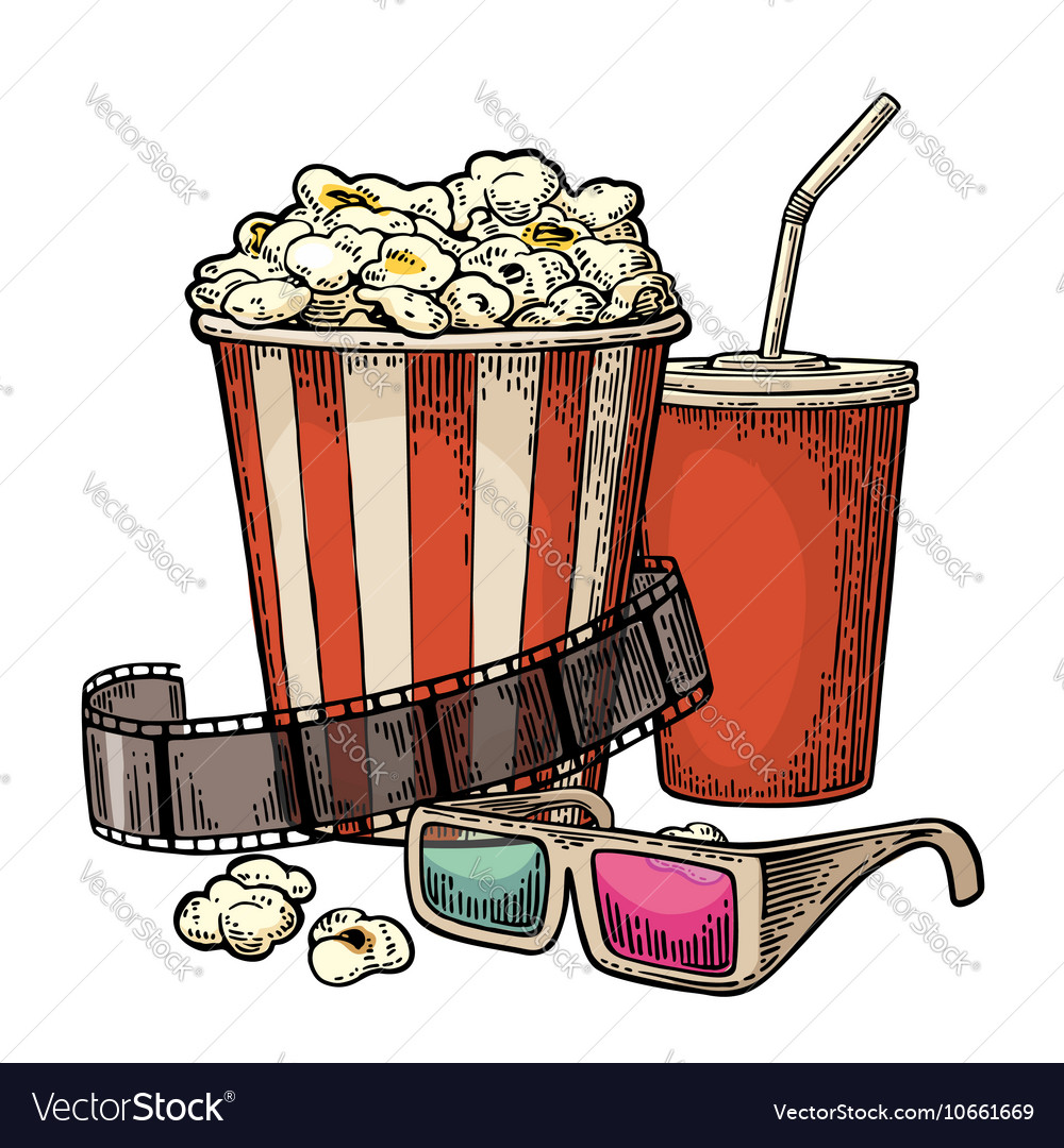 Popcorn cup for beverages with straw film strip