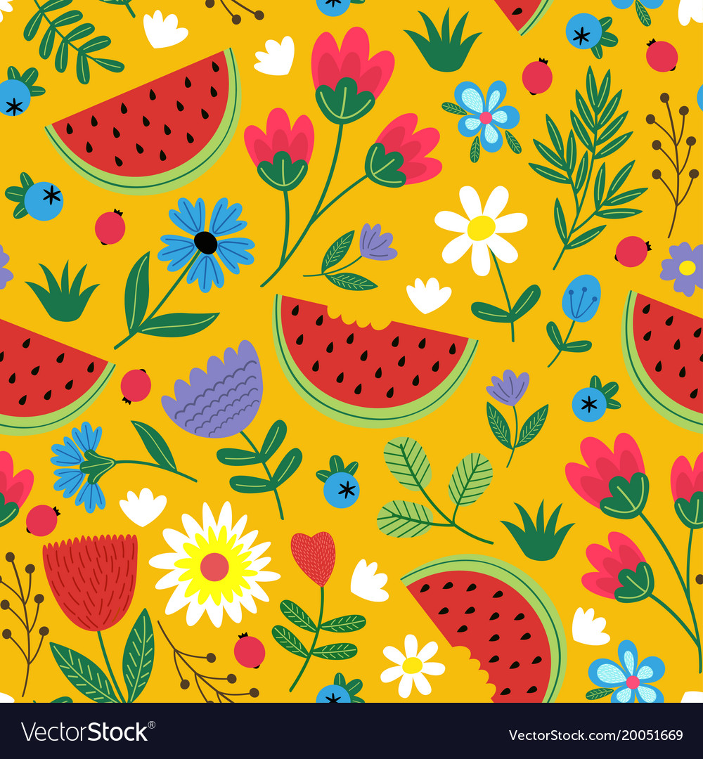 Seamless flowers pattern with watermelon