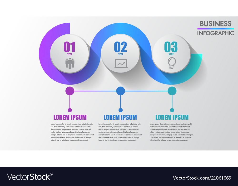 Three steps business infographics modern creative