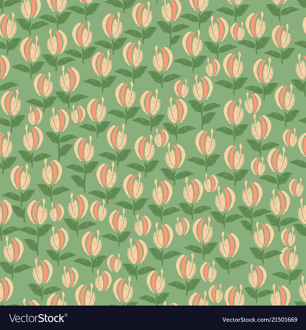 Tropical flower seamless pattern doodle style