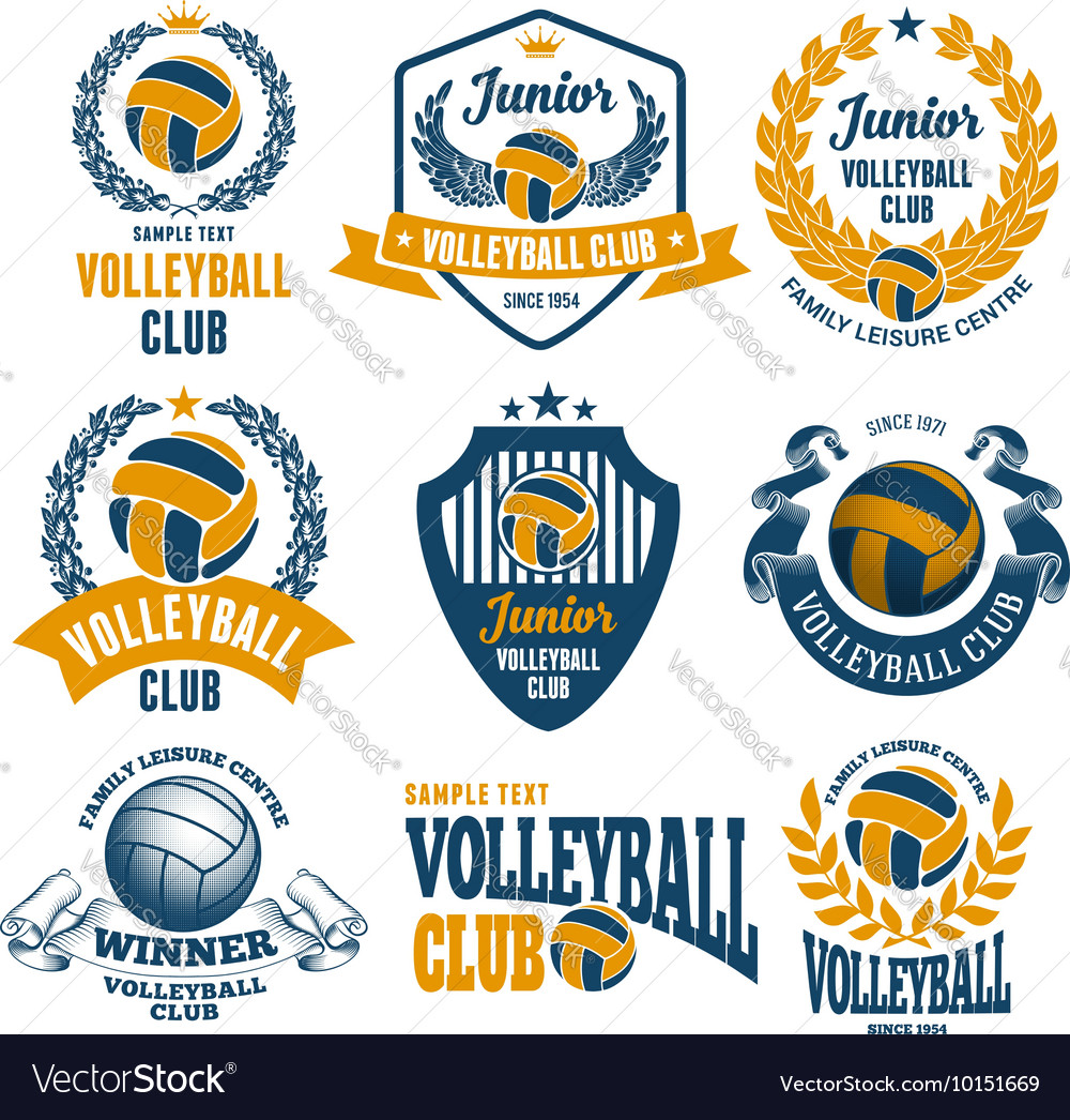 Volleyball emblems set