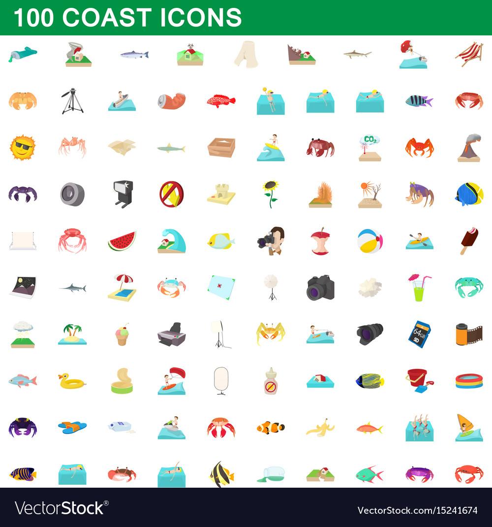 100 coast icons set cartoon style