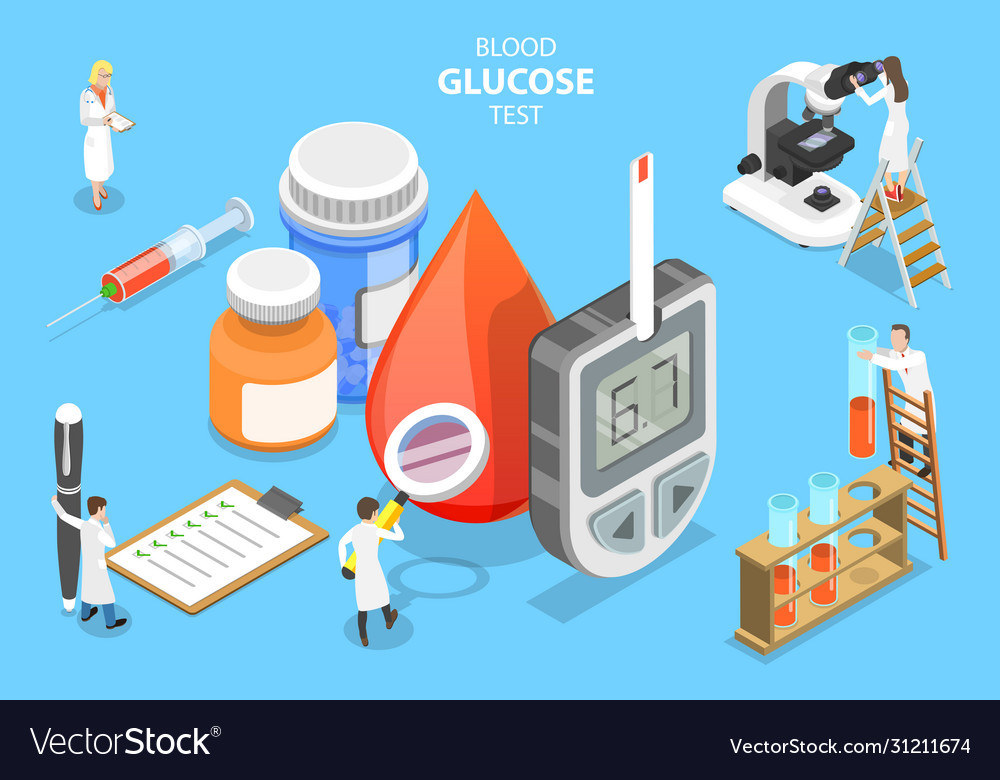 3d isometric flat concept blood glucose vector