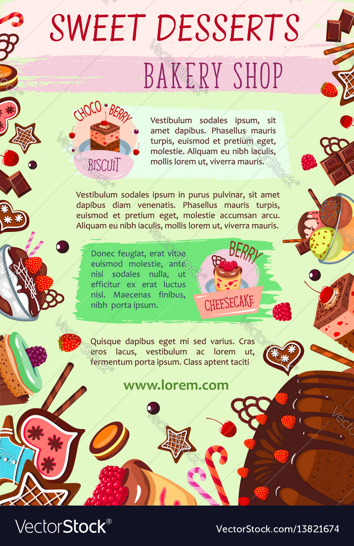 Bakery shop poster cake desserts template