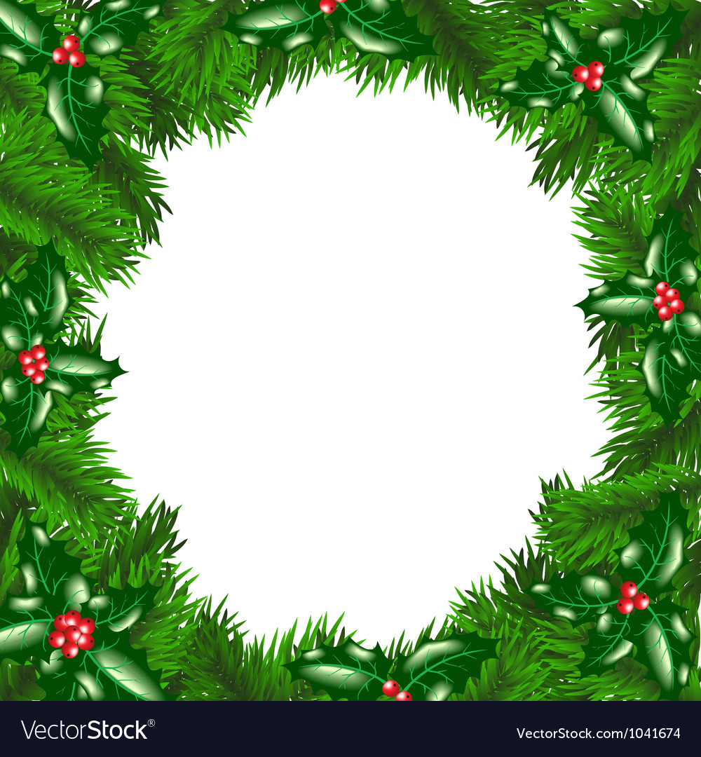 Christmas tree frame with holly berry vector image