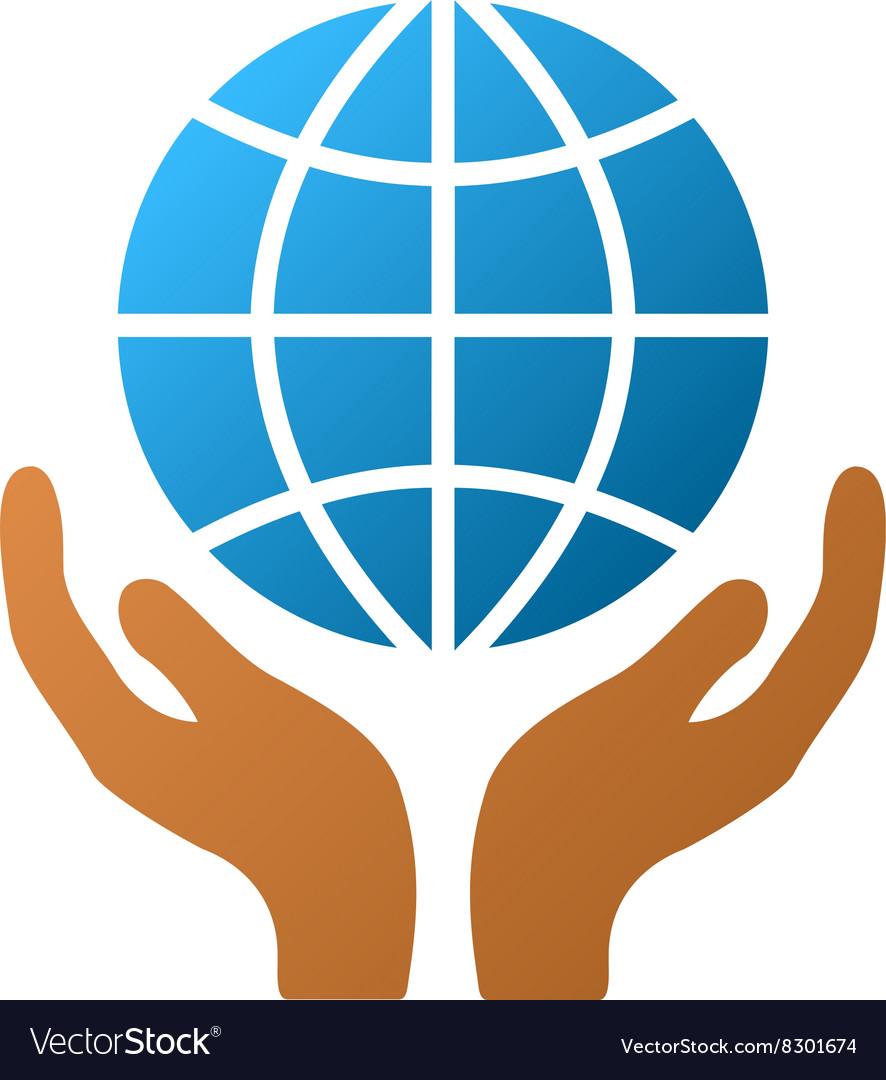 global hands gradient icon royalty free vector image rh vectorstock com Hand Outline Vector Hand Silhouette Vector