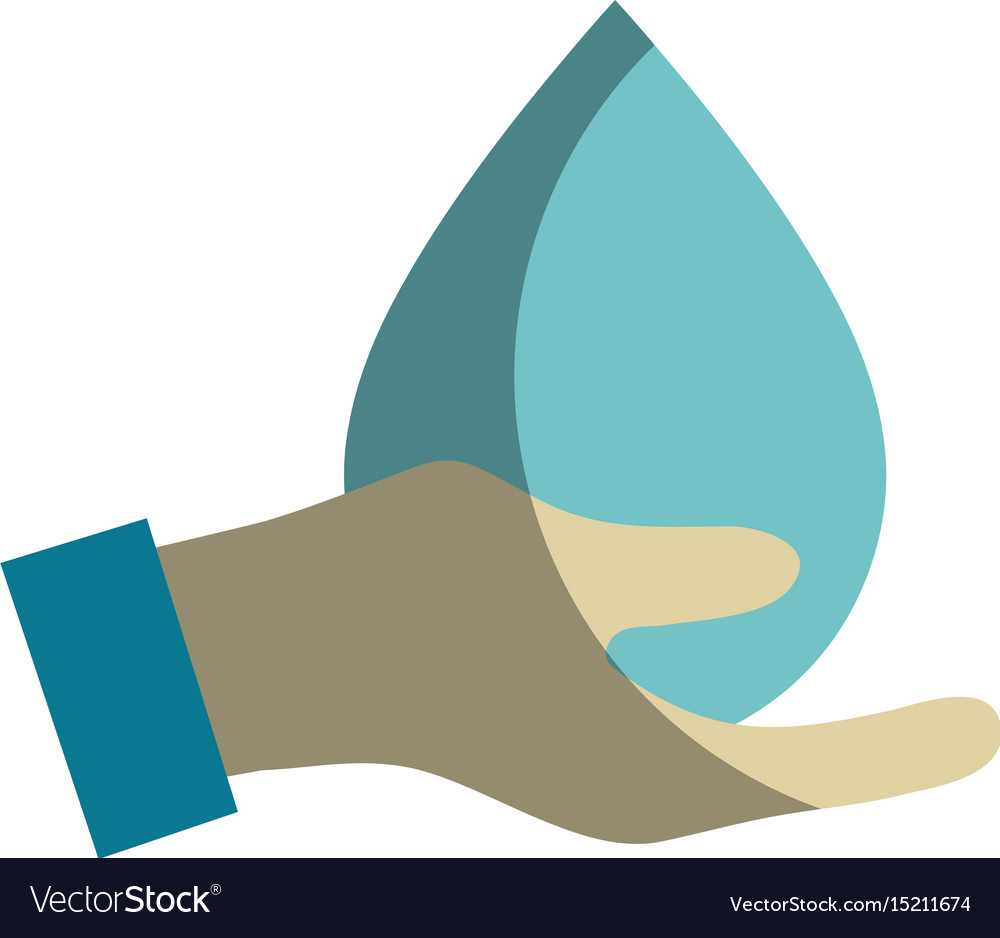 Hand with water drop to ecology presenvation vector image