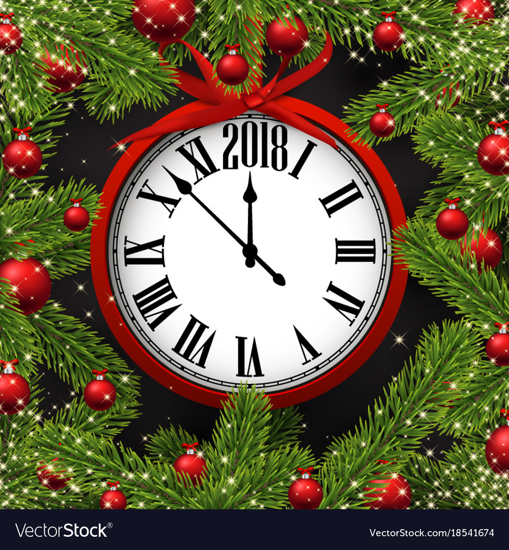 New year card with clock vector image
