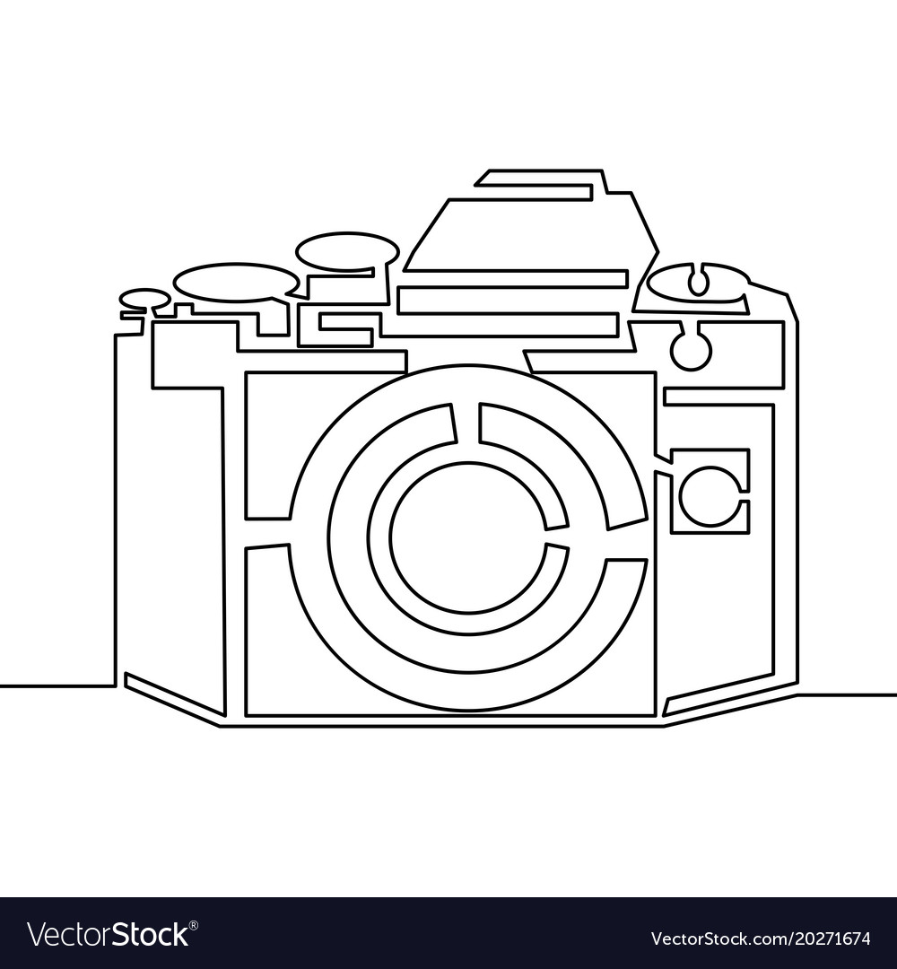 One line drawing of camera black image isolated