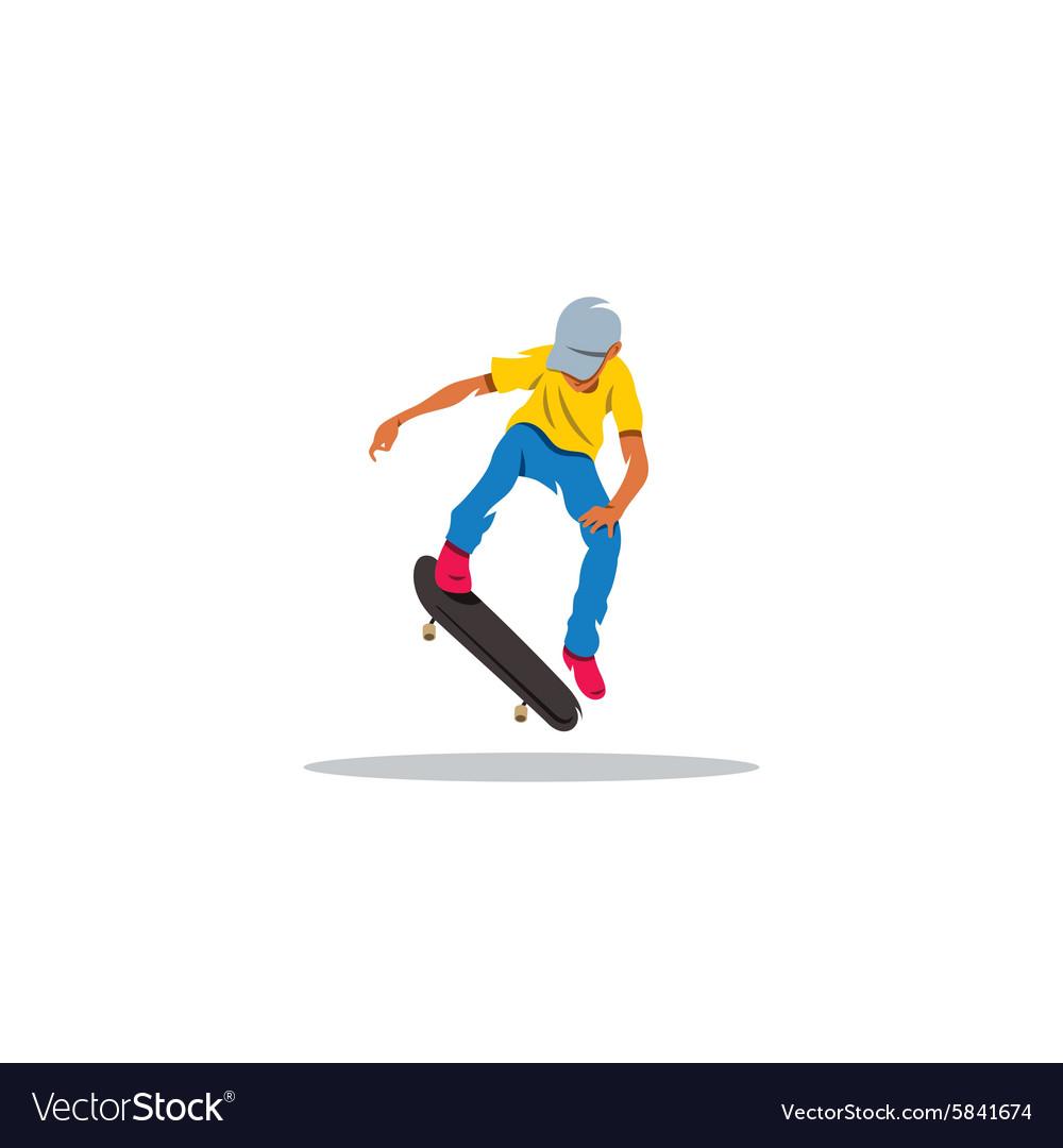 Skateboarder man jumping sign