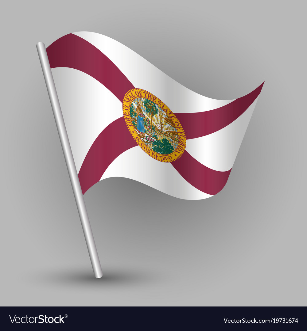 Waving triangle american state flag florida vector image