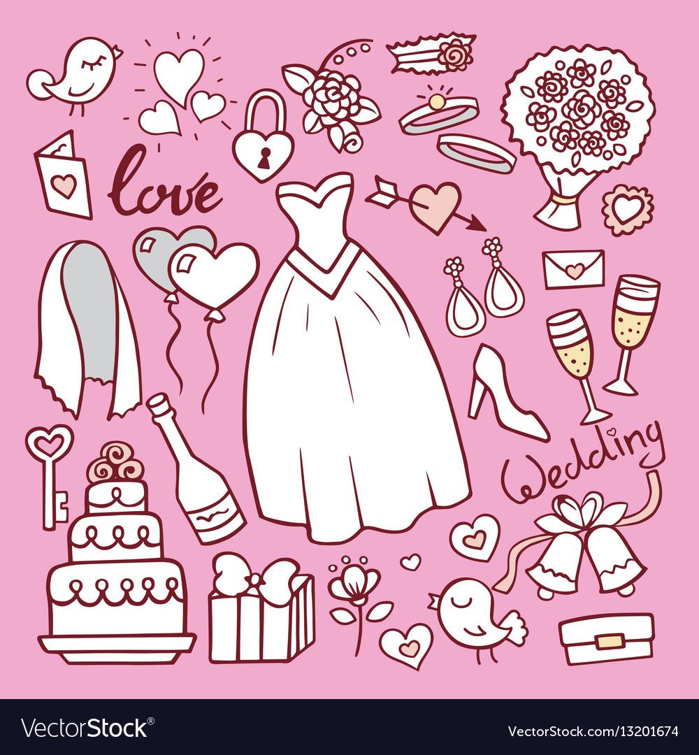 Wedding fashion bride dress doodle style