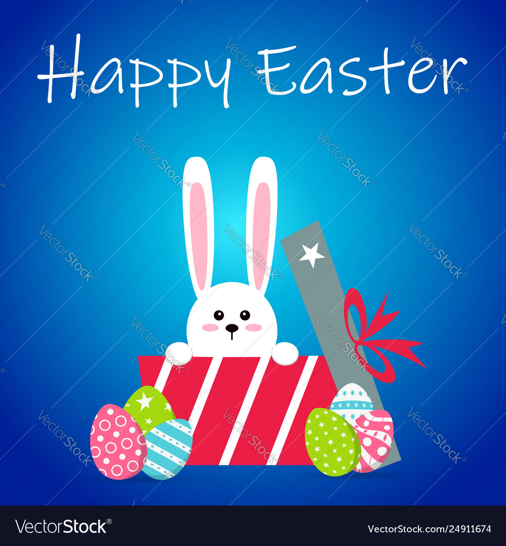 White easter rabbit with eggs funny bunny in flat