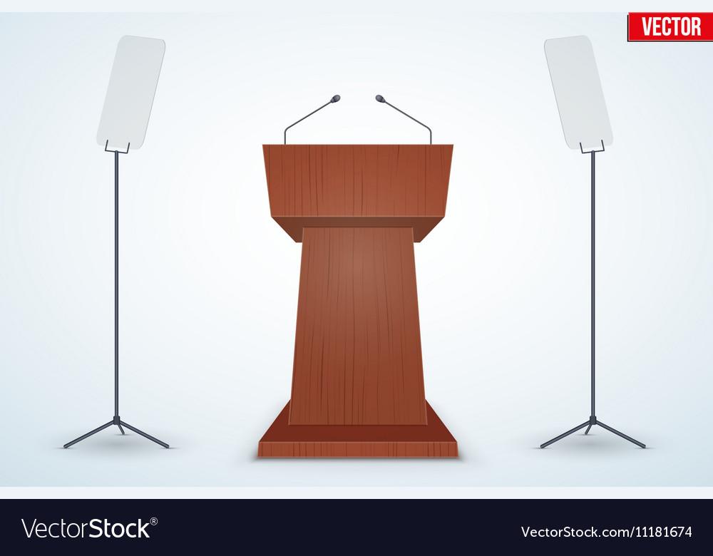 Wooden Podium Tribune with Microphones