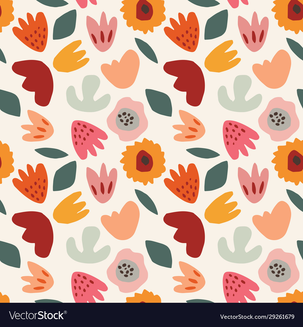 Abstract floral seamless pattern hand drawn