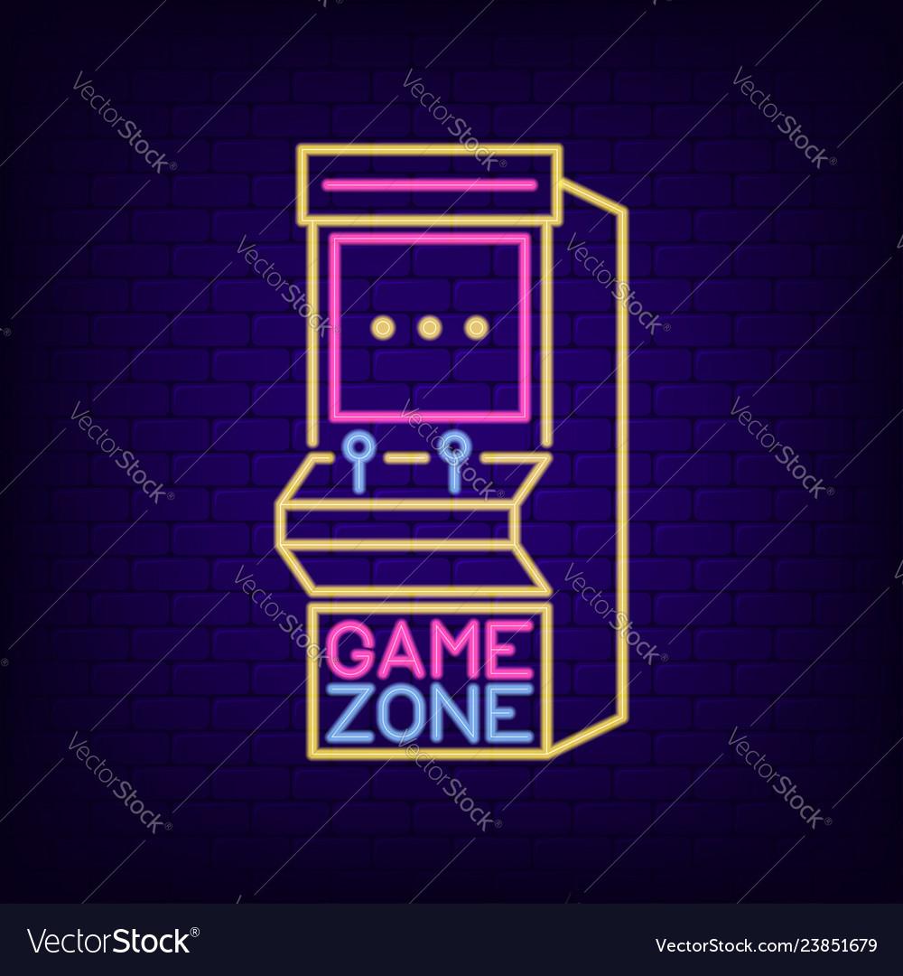 Arcade game machine neon sign game zone night
