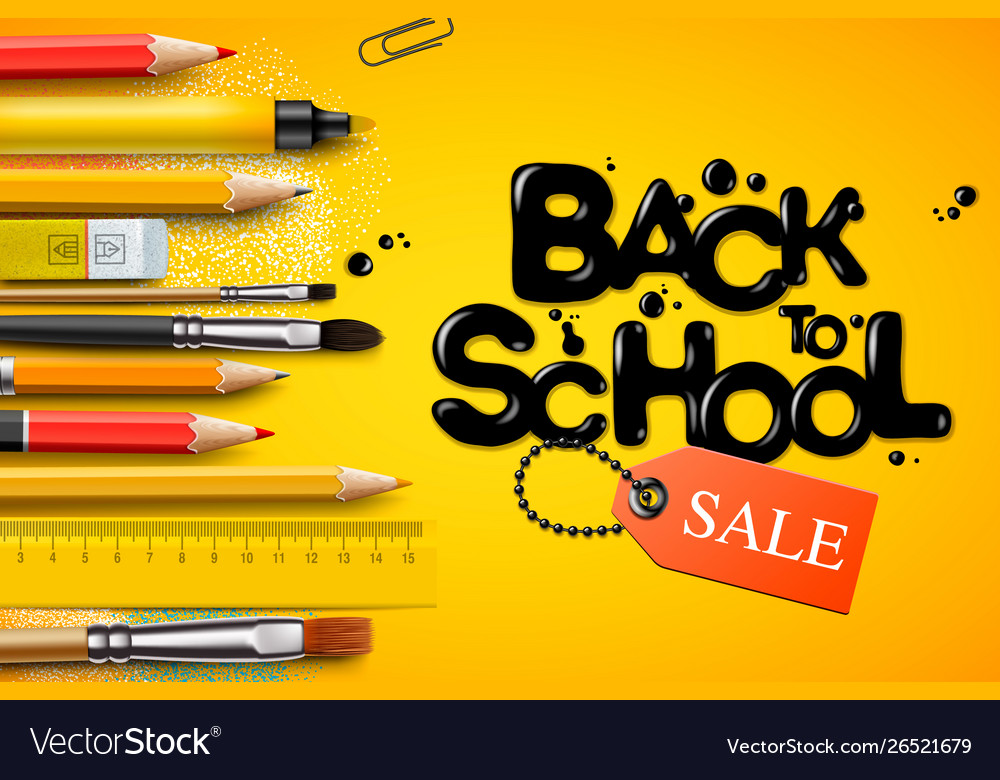 Back to school sale poster and banner with