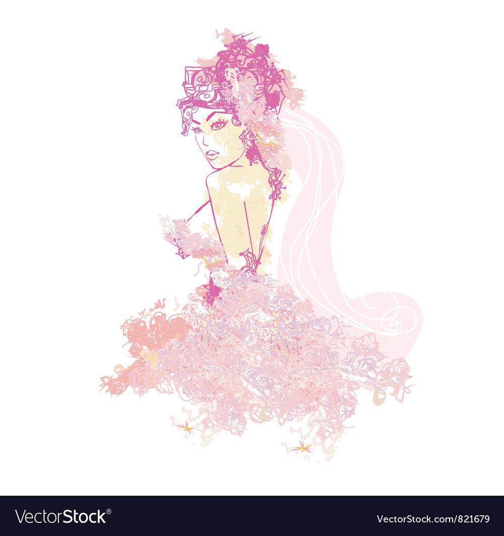 Beautiful abstract bride vector image