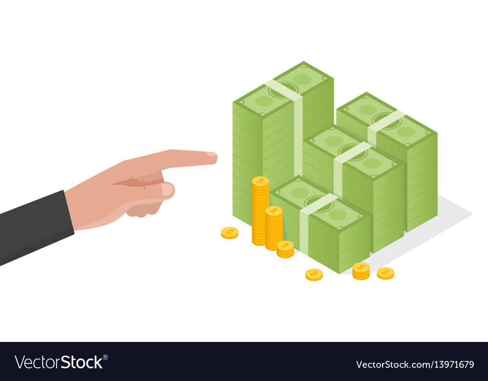 Businessman hand points a stack of green dollars