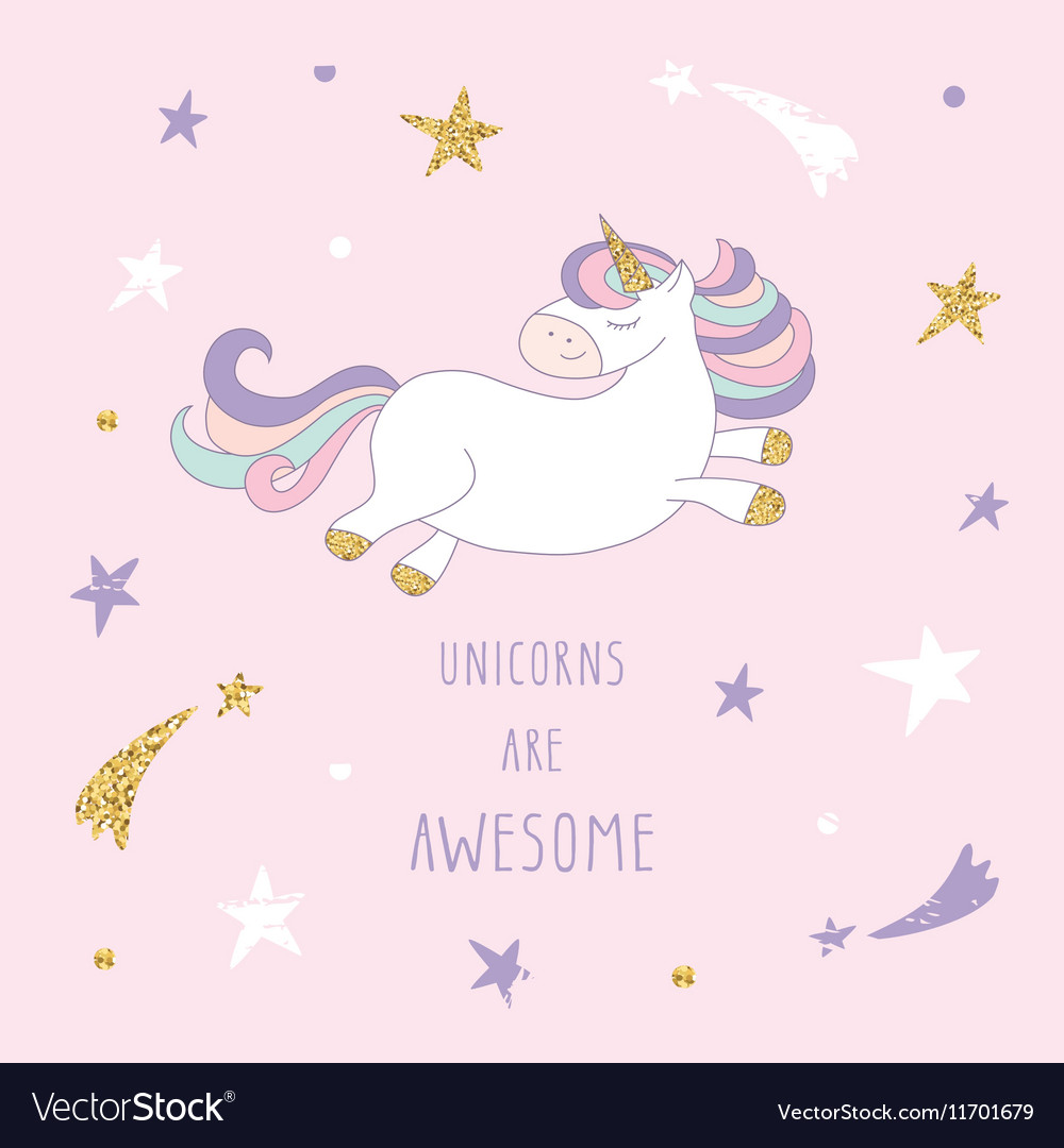 Cartoon unicorn on the starry sky with glitter