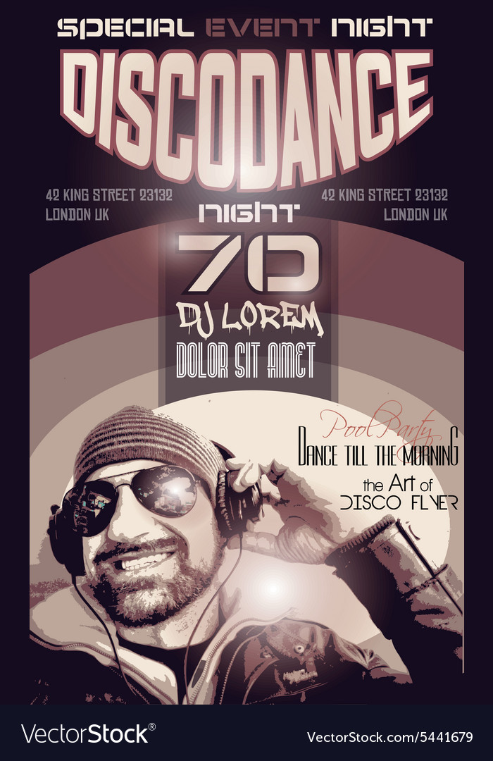 Disco Night Club Flyer layout with Disck Jockey