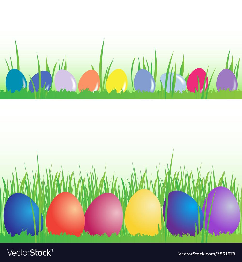 Easter eggs banner set vector image