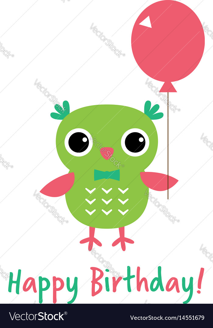 Happy birthday card with an owl