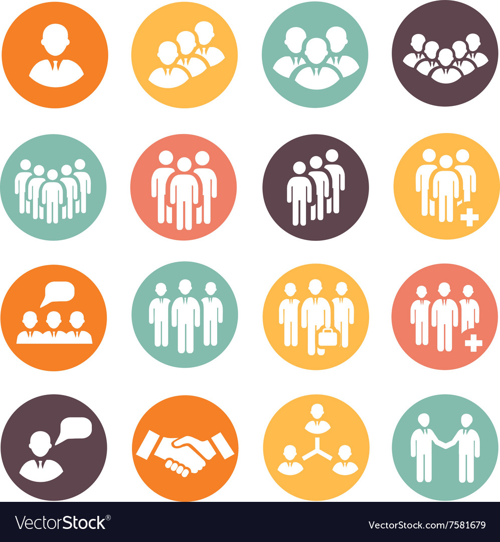 Human resources and management icons set vector image