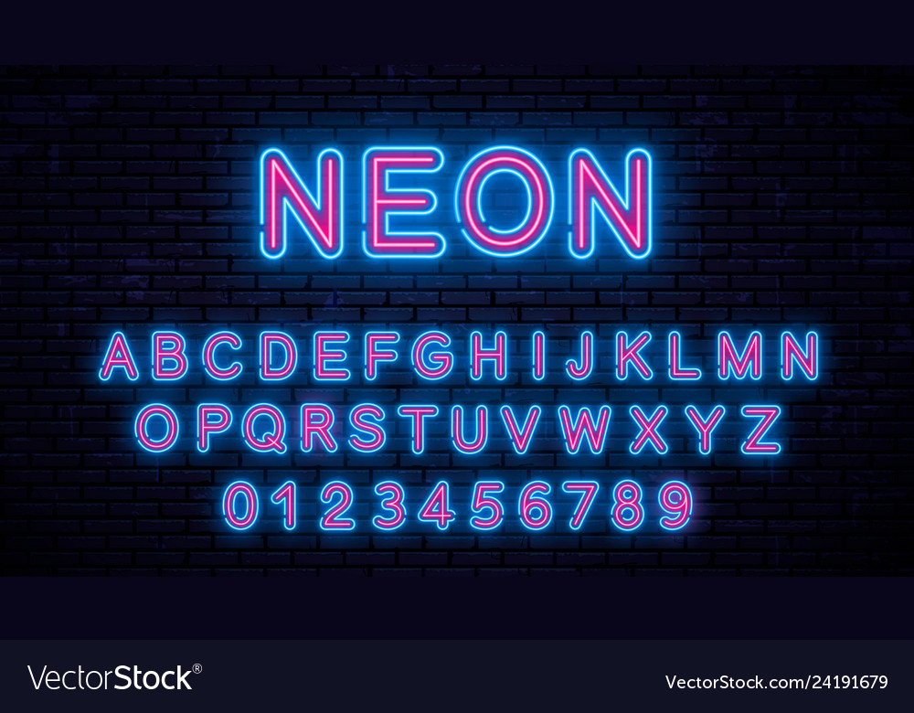 Neon blue - red letters
