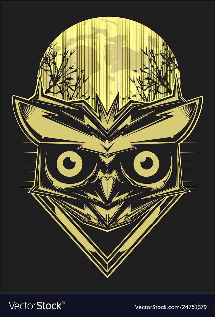 Owl on forest silhouette background and moon hand