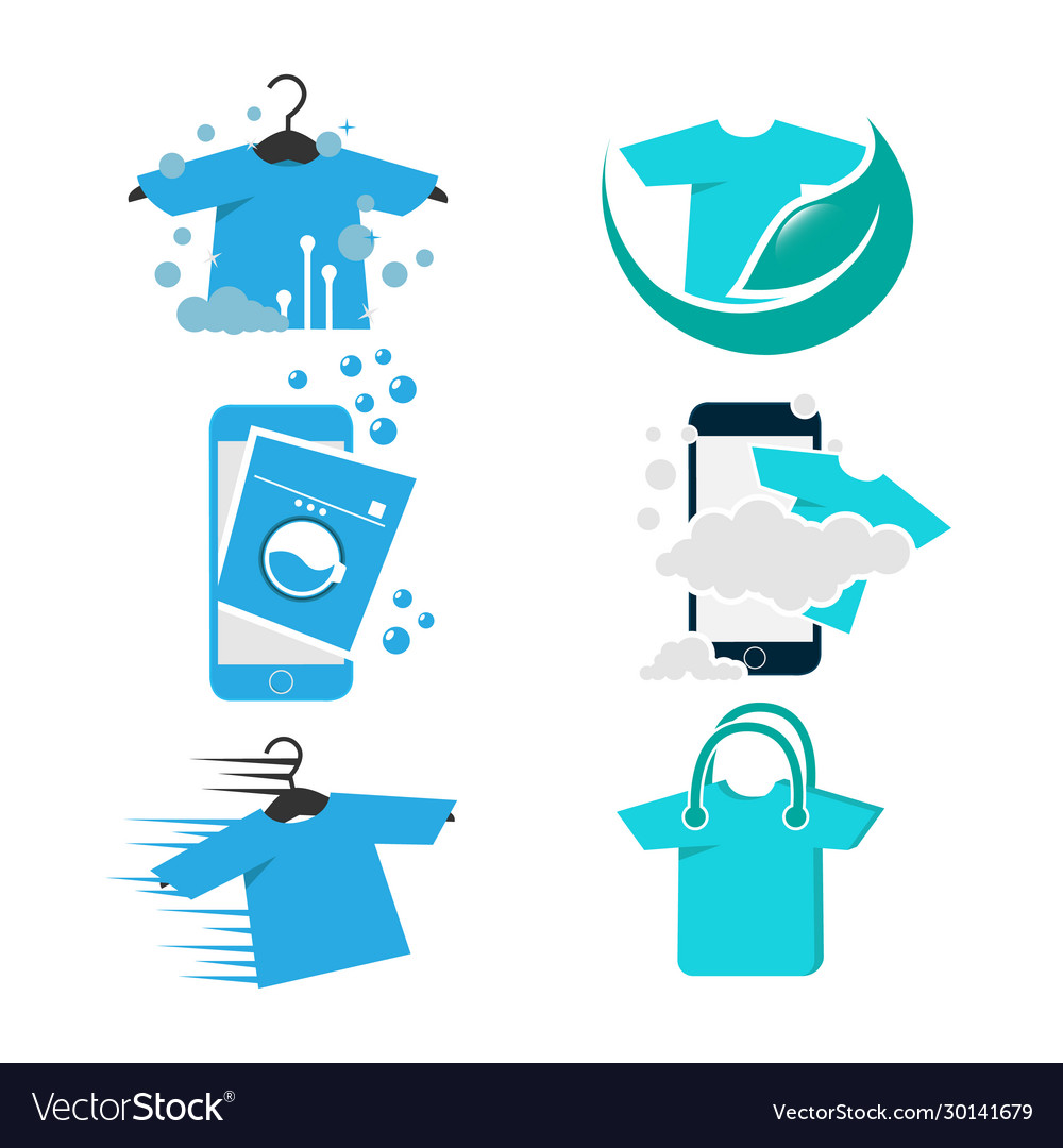 Set modern laundry logo