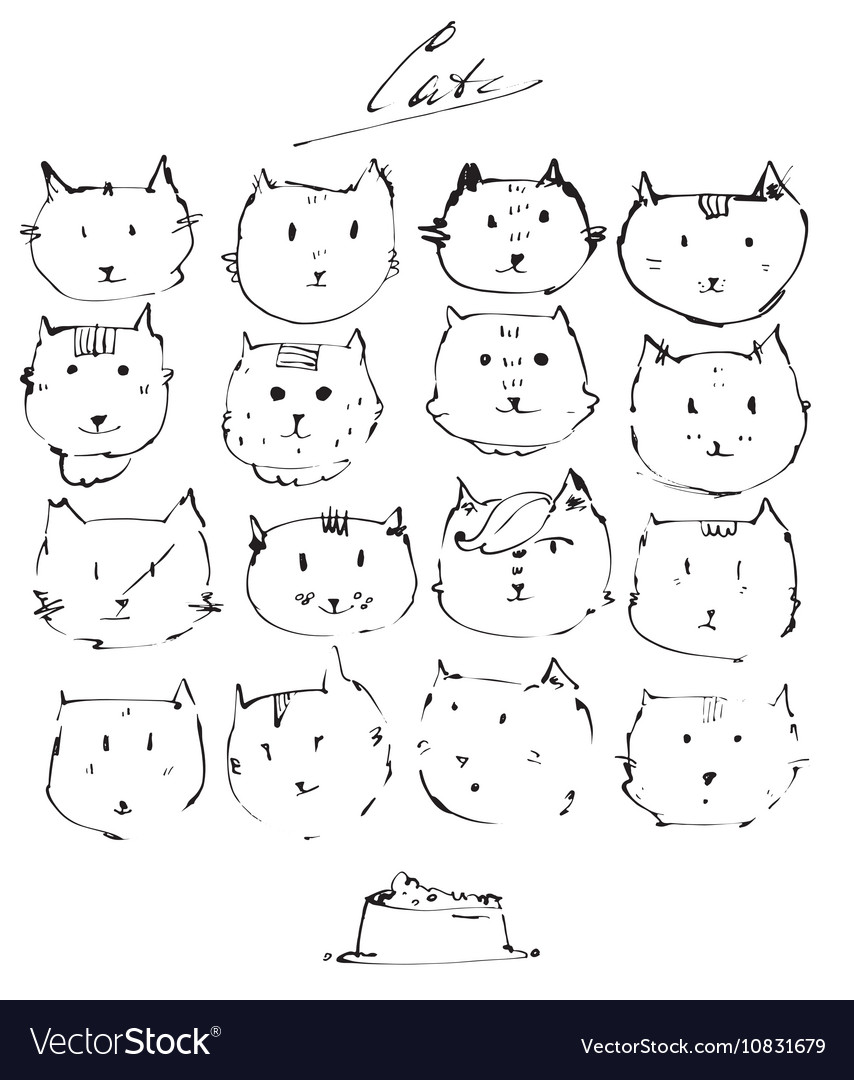Set of ink cats faces drawn freehand with liquid