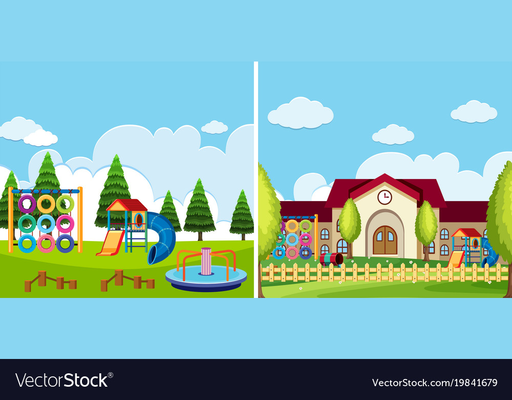 Two playground scenes at the park and school