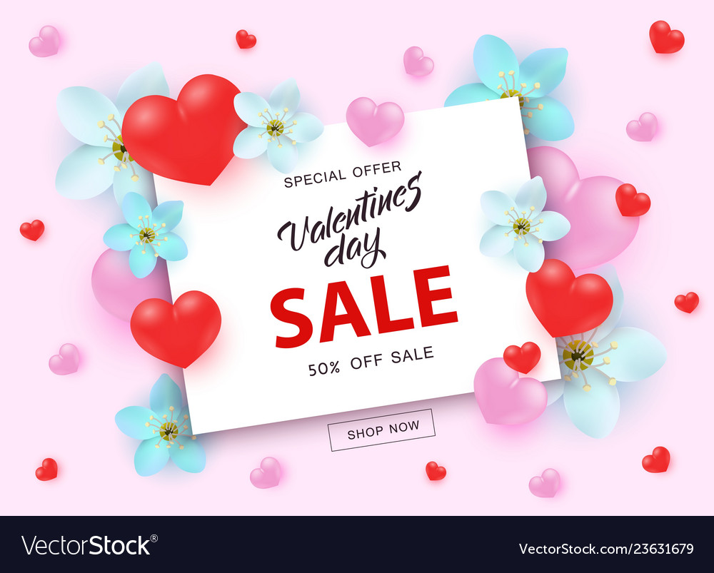 Valentines day sale banner with sign on white