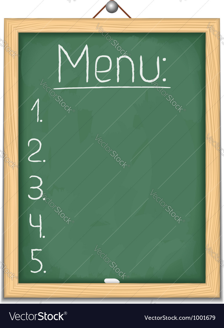 Vertical blackboard with menu vector image