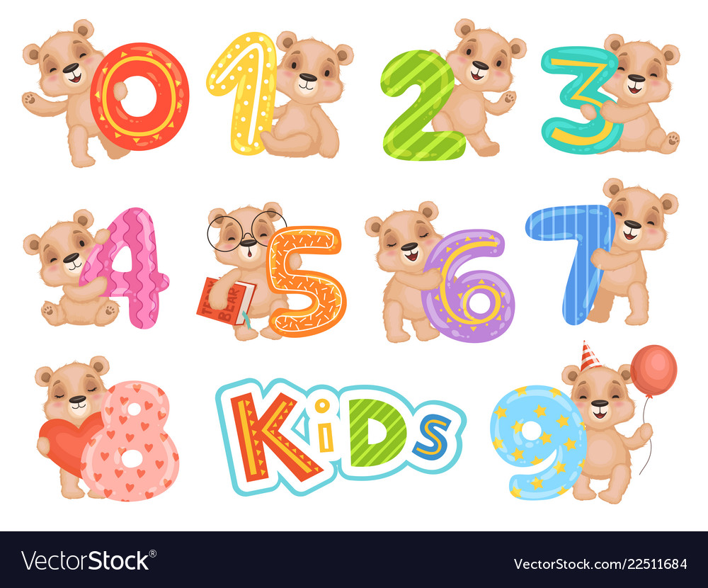 Birthday numbers bear party fun invitation for