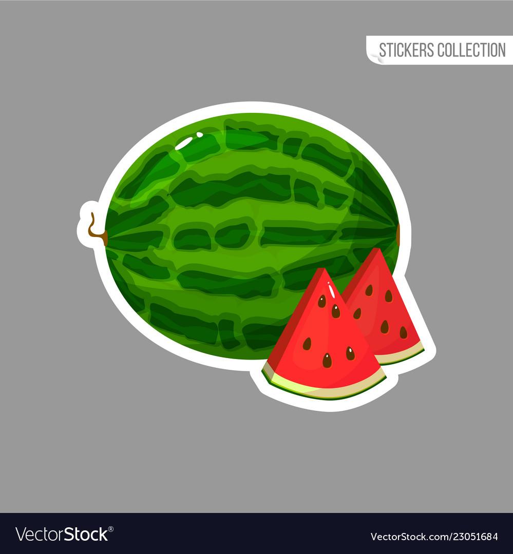 Cartoon fresh watermelon isolated sticker