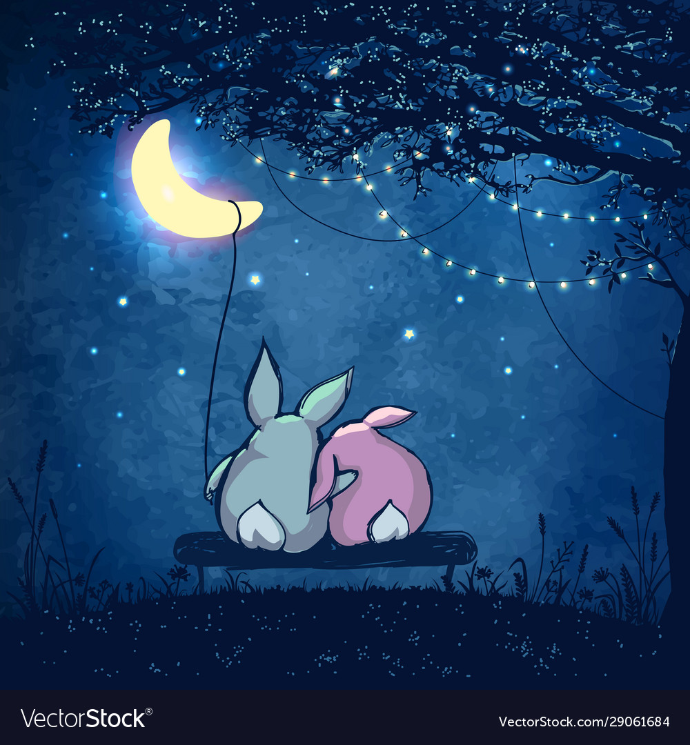 Couple cute rabbits hugging under magical tree